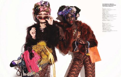 Atong Arjok & Daria Popova for Elle Magazine Taiwan January 2013.